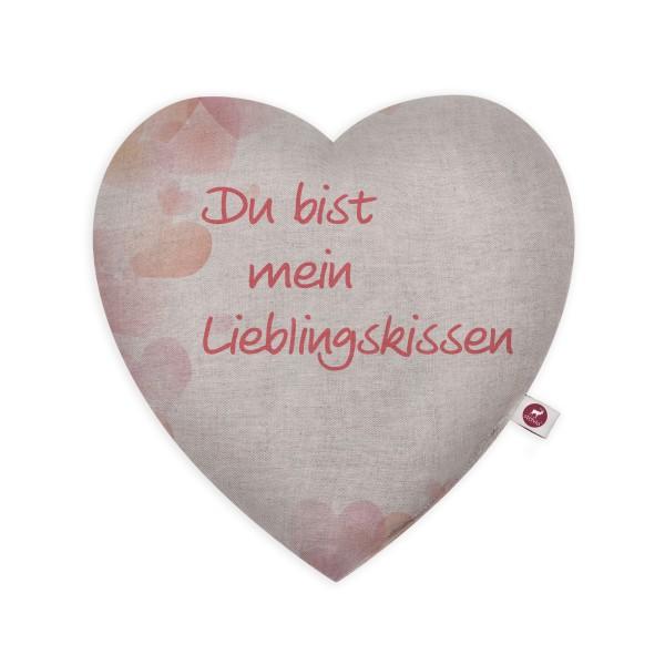 Motivkissen Herz 28x26cm - Du bist mein Lieblingskissen