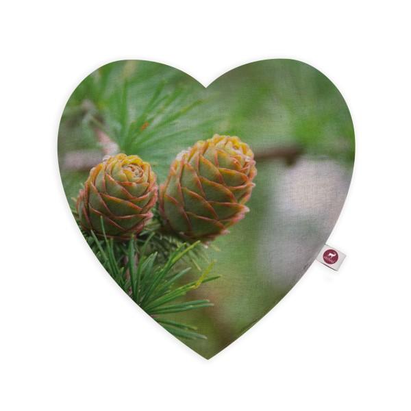 Motivkissen Herz 28x26cm - Zirbenfrüchte