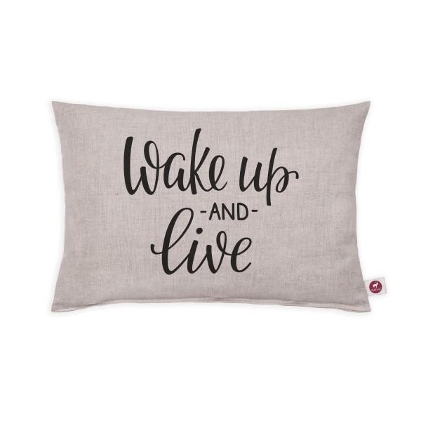 Motivkissen 30x20cm - Wake up and live white