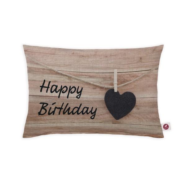 Motivkissen 30x20cm - Happy Birthday Wood