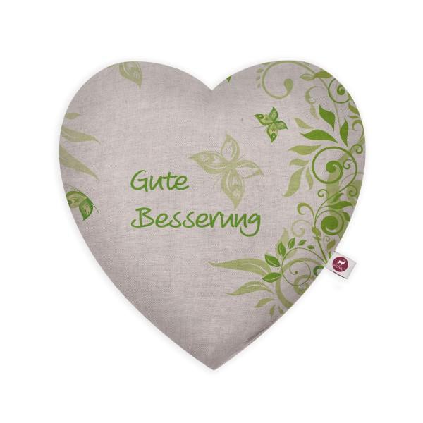 Motivkissen Herz 28x26cm - Gute Besserung